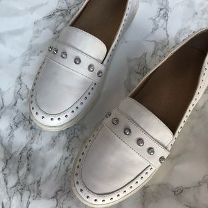 Shoes - White Pearl Embellished Loafers